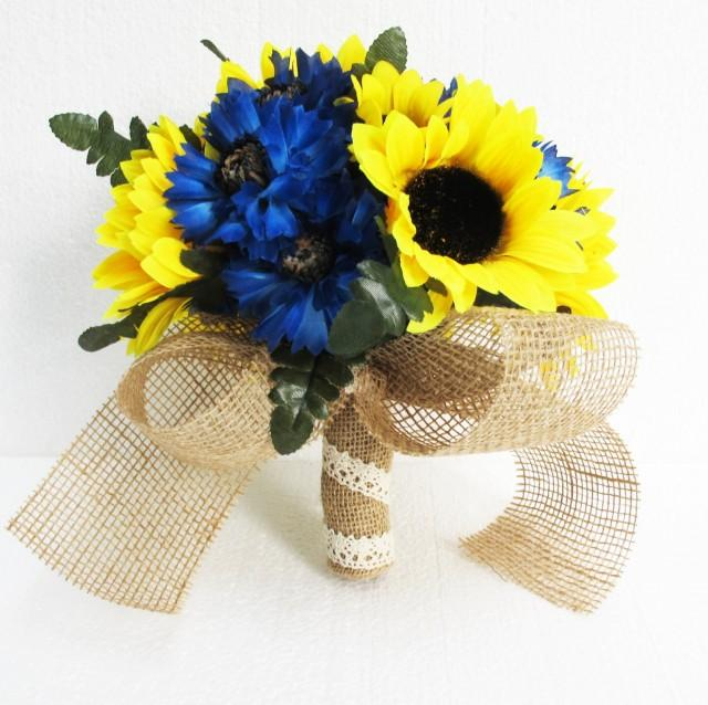 Sunflowers Wedding Bouquet Bridesmaid Bouquets Blue Cornflower ...