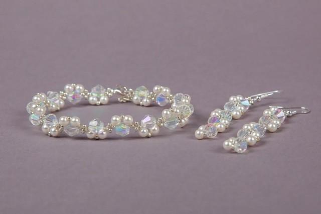 Bridal Swarovski Jewellery Set Wedding White Pearls Crystal Bicone Earrings Bracelet Necklace Uk 2603020