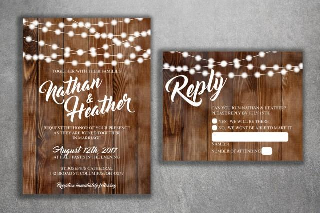 Inexpensive Wedding Invitation Ideas: Rustic Country Wedding Invitations Set Printed