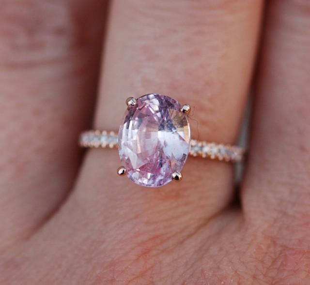 Blake Lively Ring Peach Pink Sapphire Engagement Ring Oval ...
