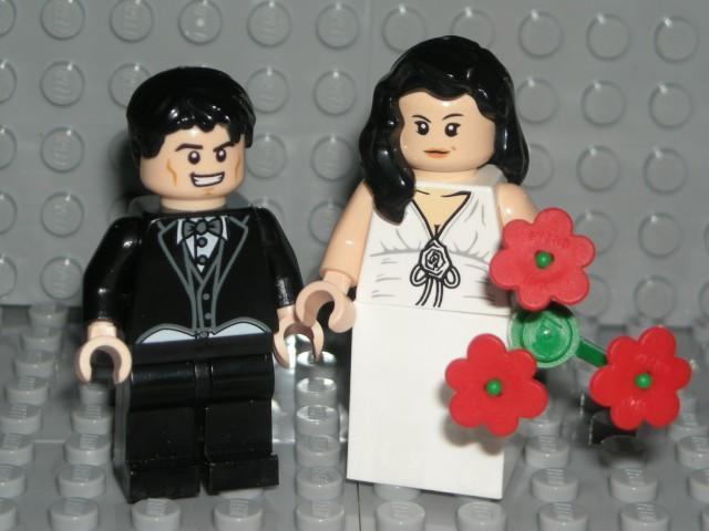 NEW LEGO WEDDING MINIFIGURES BROWN HAIR BRIDE AND BLACK HAIR GROOM BLACK SUIT