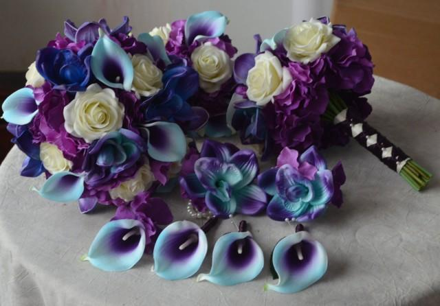 9 Wedding Bouquet Package Real Touch Blue Purple Calla