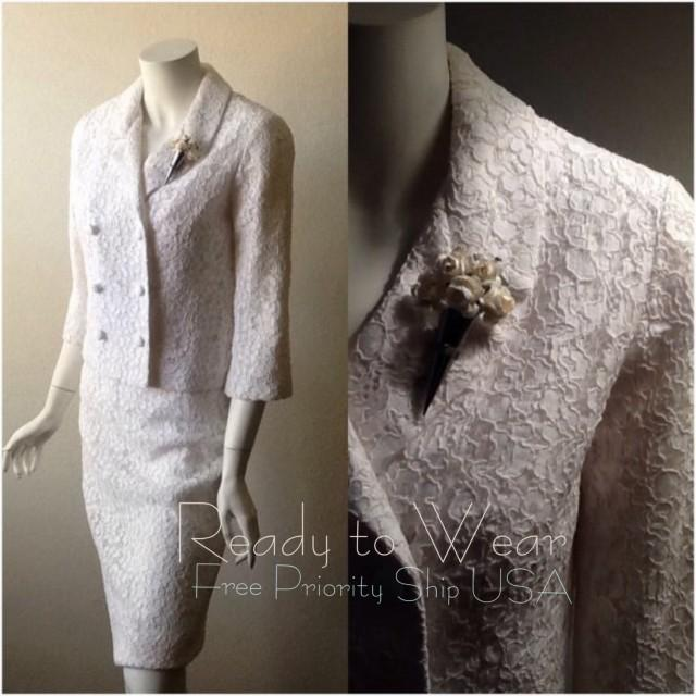 Vintage Wedding Suit / Lace Wedding Dress / Bridal Dress