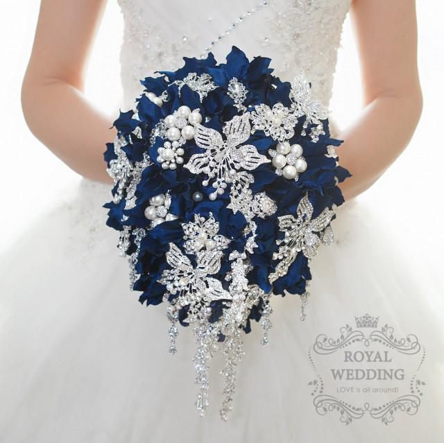 Dark Blue Flowers For Wedding Bouquets: Wedding Bouquet Cascading Brooch Bouquet Bridal Bouquet