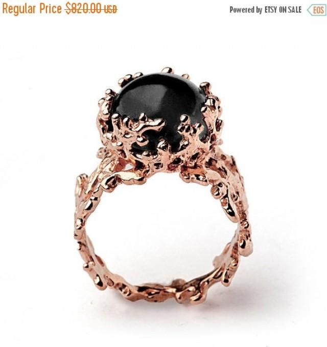 Holidays Sale Coral 14k Rose Gold Onyx Ring Black Onyx Engagement Ring Unique Rose Gold Ring Rose Gold Engagement Ring Rose Gold State 2605820 Weddbook