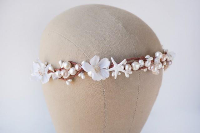Seashell Crown Beach Wedding Hair Accessories White Flower Bridal Headband Floral Headpiece