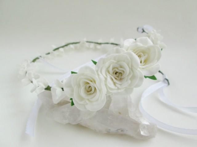 Bridal Tiara White Rose Wedding Hair White Flower For Hair Wedding