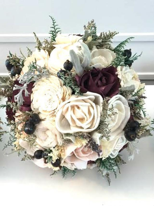 Burgundy Wine Wedding Bouquet Made With Sola Flowers
