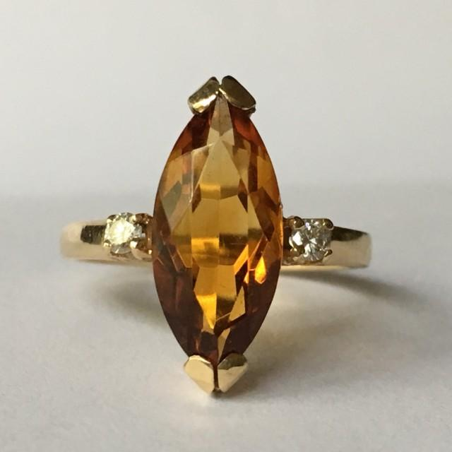 Vintage Citrine Ring Diamond Accents 14k Yellow Gold