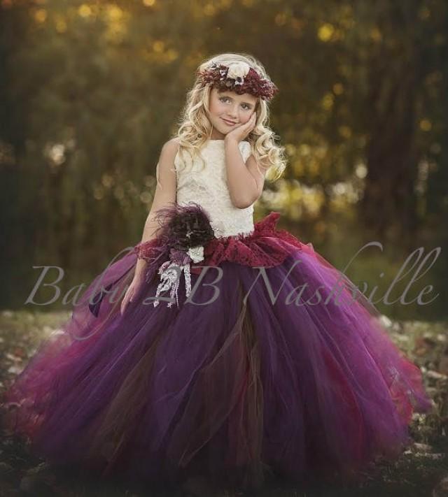Chocolate Plum Flower Girl Dress Ivory Lace Dress Tulle