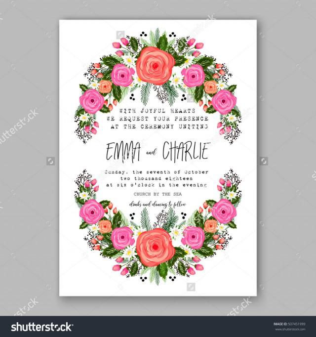 Wedding invitation printable template with floral wreath for Wedding invitation designs fuchsia pink