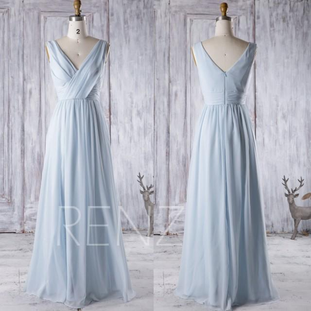 2016 Light Blue Chiffon Bridesmaid Dress V Neck Wedding