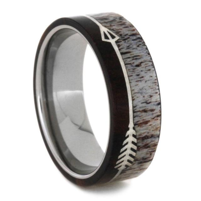 Titanium wedding band with deer antler and ironwood for Jewelry storm arrow ring