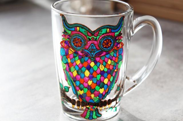 Owl Mug Gl Painted Coffee