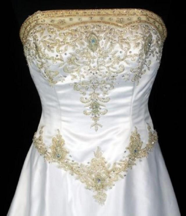 Victorian Crystal Bead Sequin Jeweled Strapless Boned Bodice White