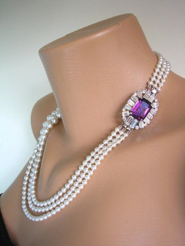 Amethyst Necklace Pearl Necklace Purple Bridal Choker