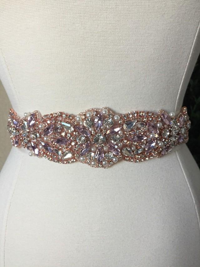 Pink and rose gold bridal sash wedding dress sash belt for Sparkly belt for wedding dress