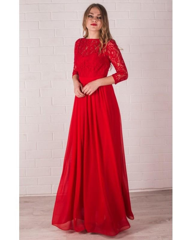 Red Long Bridesmaid Dress Lace Handmade Red Chiffon ...