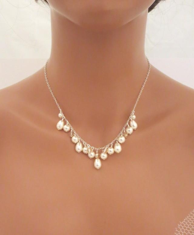 Pearl Bridal Necklace Simple Wedding Necklace Wedding