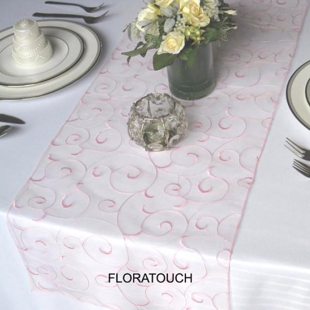 pink swirl embroidered organza wedding table runner weddbook