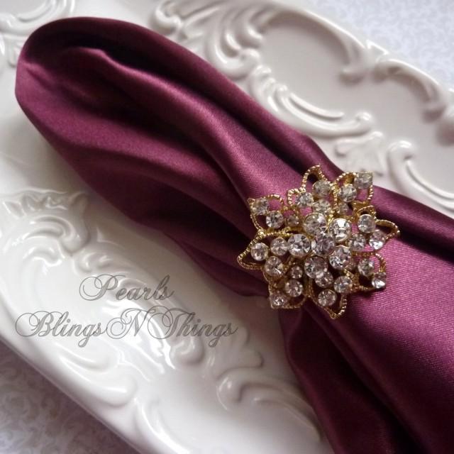 Medium Rhinestone Crystal Rose Gold Napkin Rings Holder