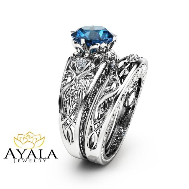 London Blue Topaz Engagement Ring Set Unique 14k White Gold Bridal