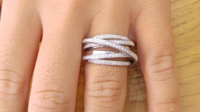 Multi Band Ring 14k White Gold Wedding Band 1 5 Tcw
