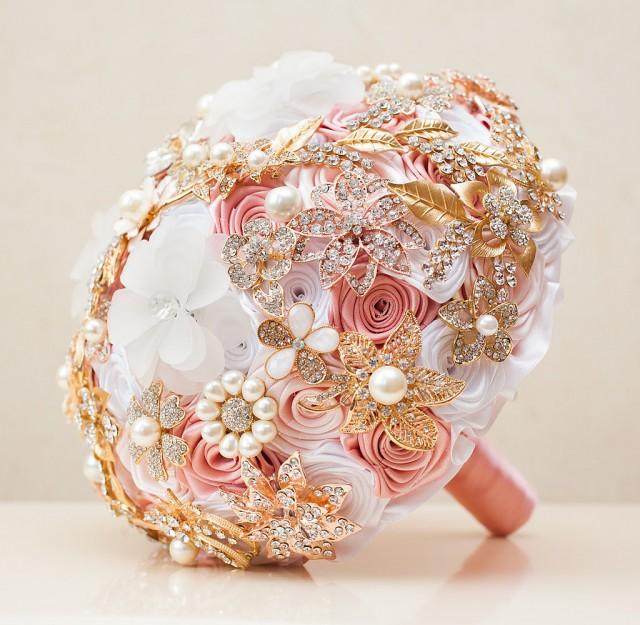 Brooch Bouquet, Wedding Bouquet, Blush Pink Bouquet, White