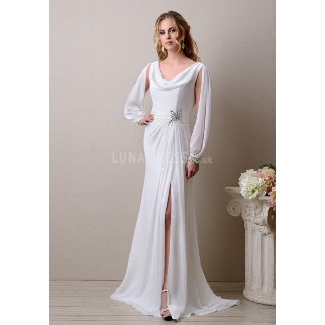 Cowl Neck Wedding Gown: Special Cowl Neck Chiffon Sheath/ Column Long Sleeves