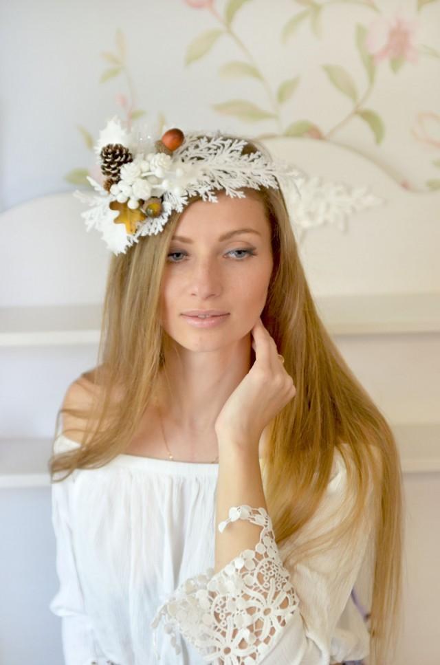 Winter Crown Bridal Headpiece Winter Wedding Crown Pine