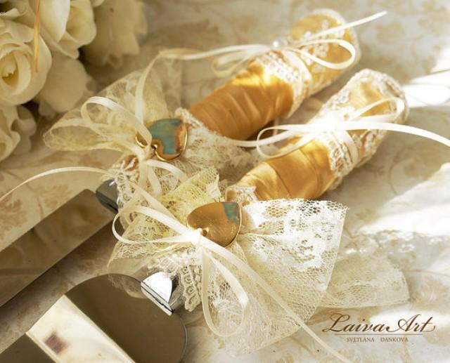 Ivory Wedding Cake Server Set & Knife Cake Cutting Set Wedding Cake ...