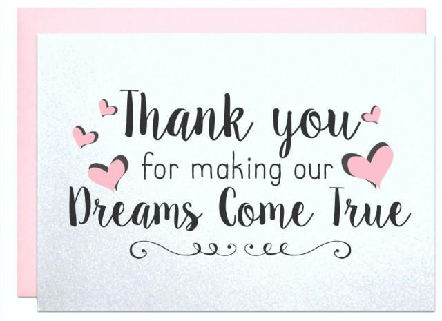 Thank You For Making Our Dreams Come True Card Caterer Florist DJ Wedding Planner Singer Parents 2609919