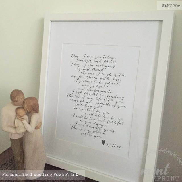 Wedding Day Gift For Wife: Wedding Vows Print / Bride And Groom Wedding Vows Prints
