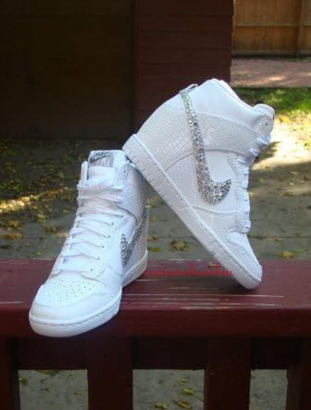 Custom Bling Rhinestone White Croc Snake Nike Dunk Sky Hi