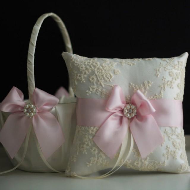 ivory pink flower girl basket ring bearer pillow set with lace wedding basket with wedding ring. Black Bedroom Furniture Sets. Home Design Ideas