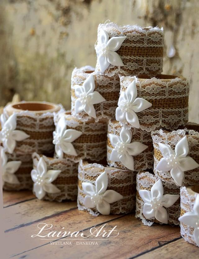 Burlap Wedding Napkin Rings Wedding Table Dcor Rustic Wedding
