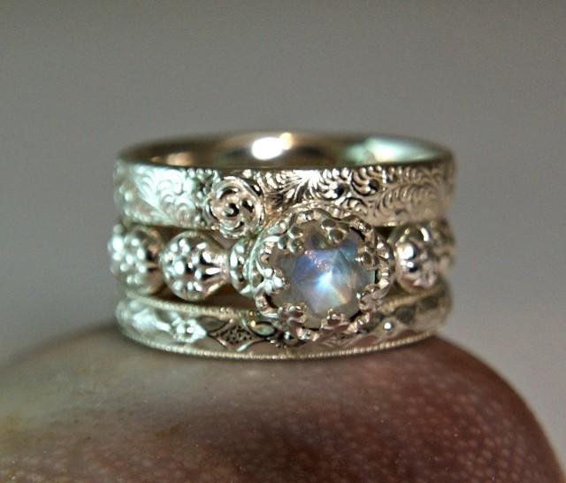 c802a979394558 Rainbow Moonstone Wedding Set, Sterling Silver Moonstone Stacking Rings,  Promise Ring, Fancy Bezel Setting #2610647 - Weddbook