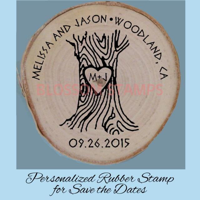 Custom Wedding Save The Date Rubber Stamp // Tree With