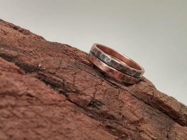 Rustic Men S Copper Wedding Band Distressed Antique Oxidized