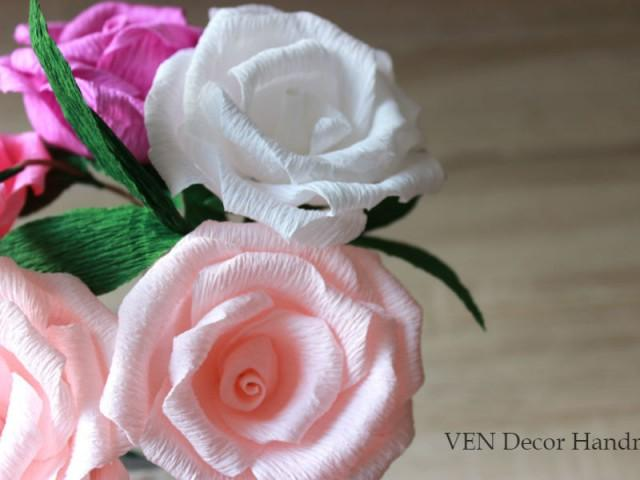 6 Paper Roses With Stems Rustic Wedding Centerpiece Wedding