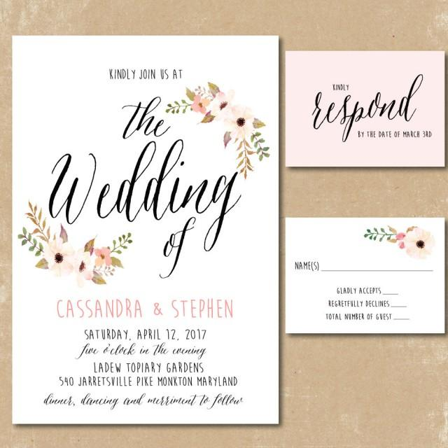 Print Your Own Wedding Invitation: Printable Floral Invitations, Watercolor Wedding
