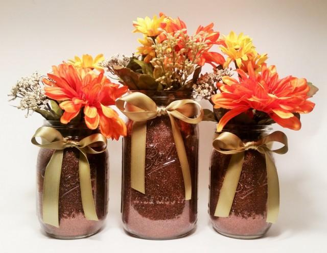 Ideas For Fall Wedding Centerpieces: Fall Mason Jar Centerpieces, Thanksgiving Decorations