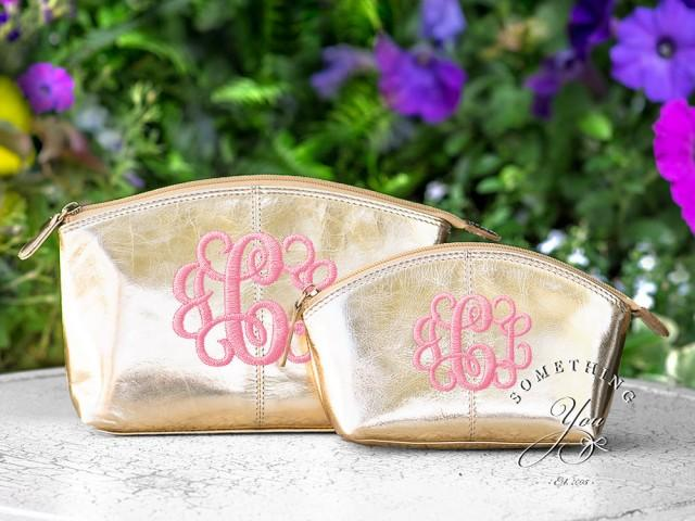 set of 2 metallic gold monogrammed leather cosmetic bags