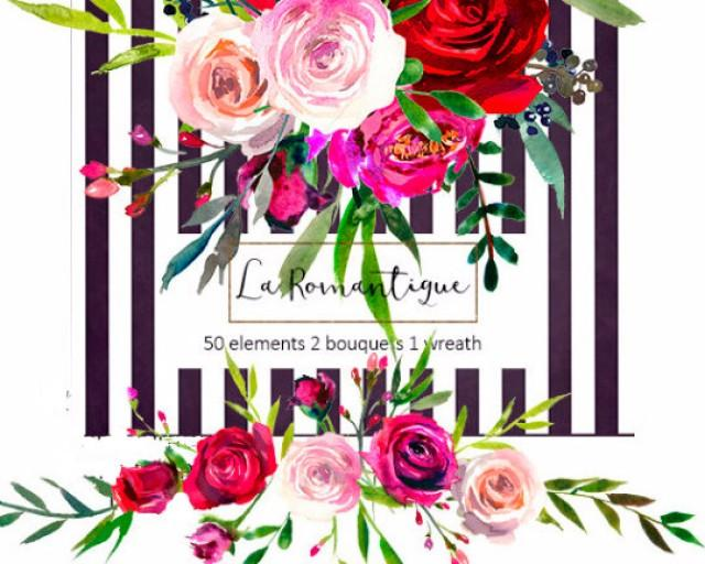 Watercolor Floral Clipart Red Purple Pink Burgundy Roses Peonies Flower Bouquets Wreaths Png