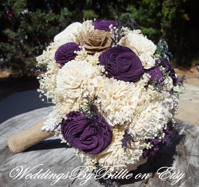 Burlap Lace Plum Sola Bouquet Purple