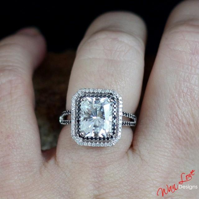 37187a305a5e5 White Sapphire Black & White Diamond 2 Double Halo Split Shank ...