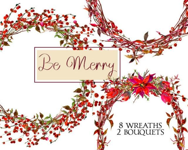Christmas Invitation Background Png.Christmas Wreaths Clipart Watercolor Poinsettia Berries