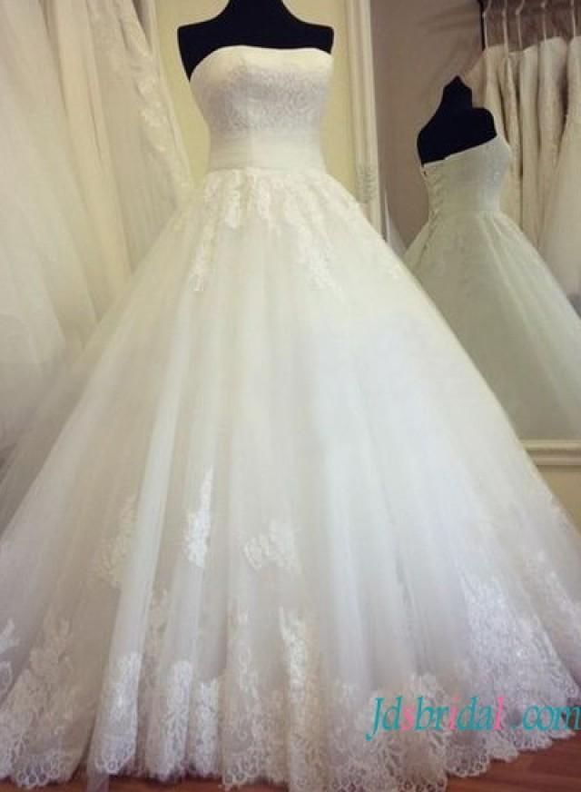 Strapless Lace Bodice Pincess Tulle Ball Gown Wedding Dress