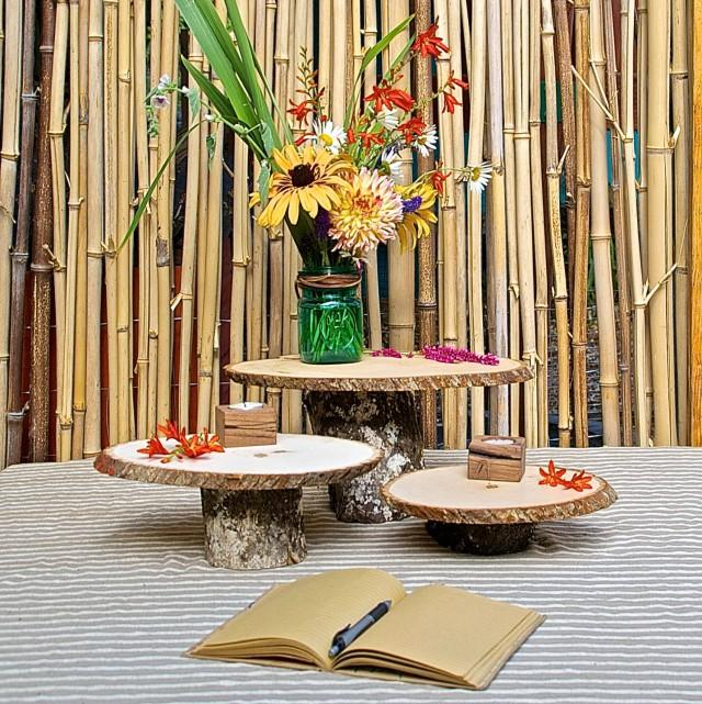 Rustic Woodsy Wedding Ideas: Set Of 3 Rustic Pedestal Serving Cake Stands Wooden