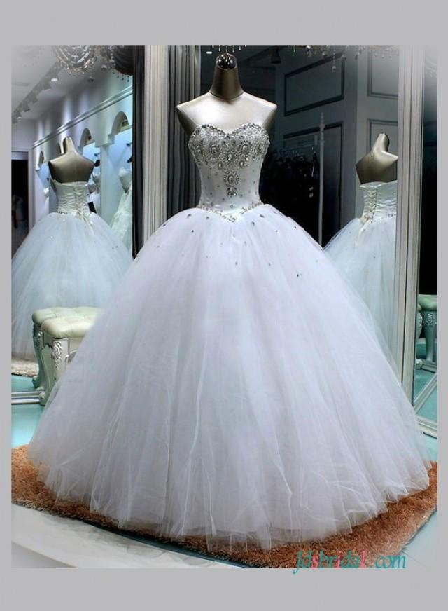 Sweetheart Neckline White Princess Ball Gown Wedding Dress ...